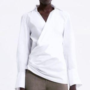 NWT Zara Asymmetrical Wrap Poplin Blouse